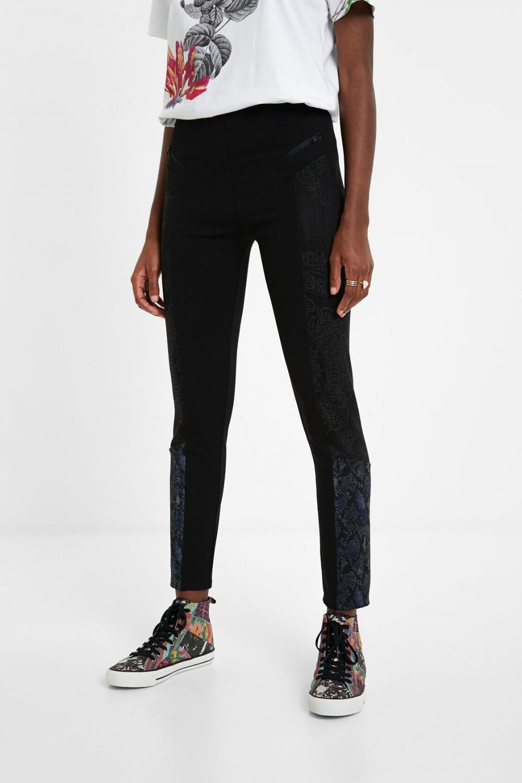 Pantalon Slim Animal Print Negro Pantalones Desigual Mujer Ayhangunyil